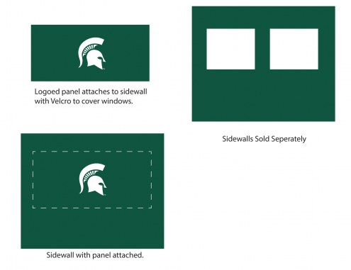 Michigan State Spartans Logo Canopy Sidewall Panel (Attaches to Window Sidewall)