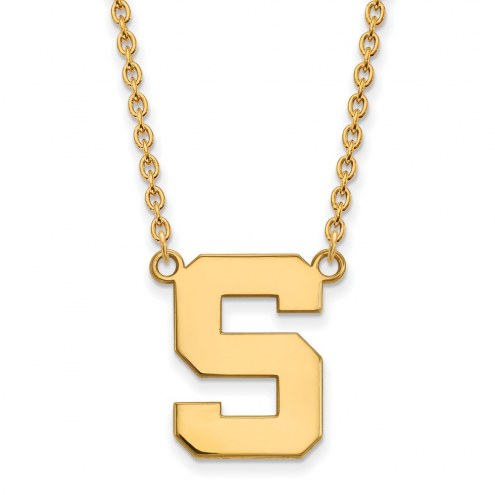 Michigan State Spartans NCAA Sterling Silver Gold Plated Large Pendant Necklace