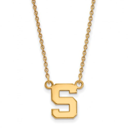 Michigan State Spartans NCAA Sterling Silver Gold Plated Small Pendant Necklace