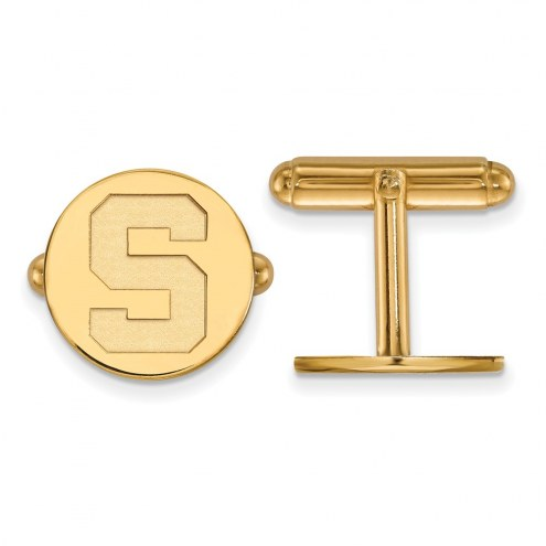 Michigan State Spartans NCAA Sterling Silver Gold Plated Cuff Links