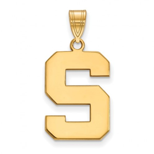 Michigan State Spartans NCAA Sterling Silver Gold Plated Large Pendant