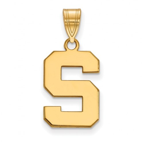 Michigan State Spartans NCAA Sterling Silver Gold Plated Medium Pendant