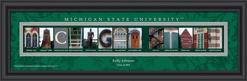 Michigan State Spartans Personalized Campus Letter Art