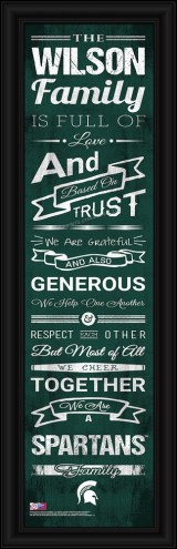 Michigan State Spartans Personalized Family Cheer Framed Art