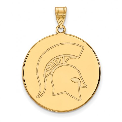Michigan State Spartans Sterling Silver Gold Plated Extra Large Disc Pendant