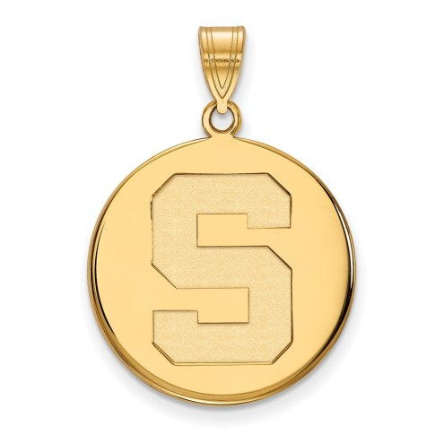 Michigan State Spartans Sterling Silver Gold Plated Large Disc Pendant