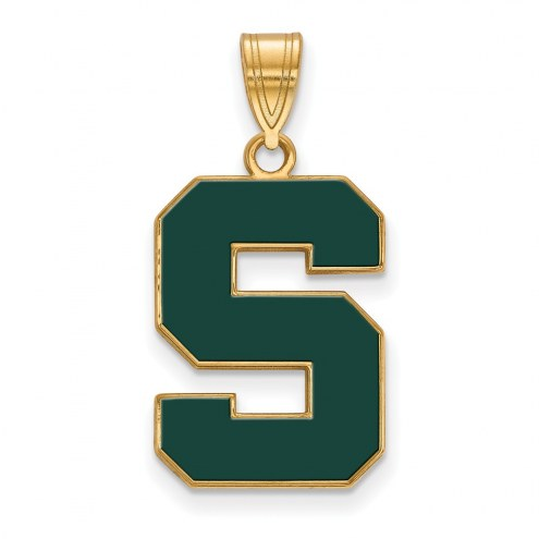 Michigan State Spartans Sterling Silver Gold Plated Large Enameled Pendant