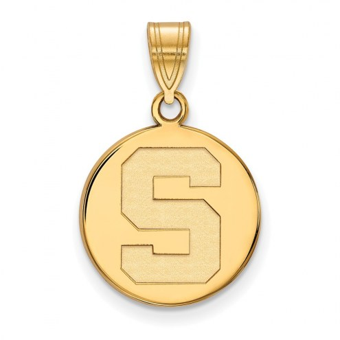 Michigan State Spartans Sterling Silver Gold Plated Medium Disc Pendant