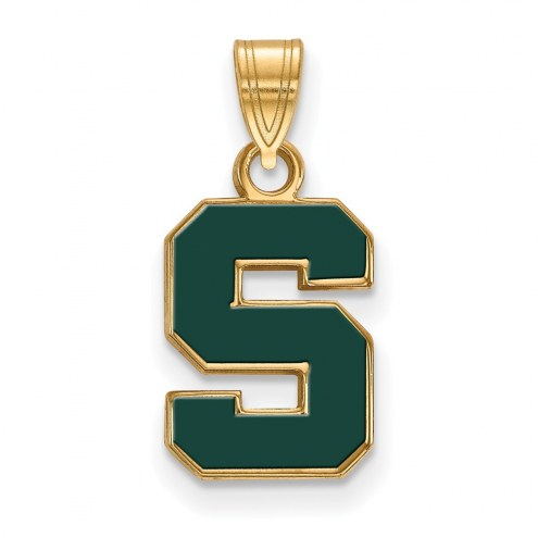 Michigan State Spartans Sterling Silver Gold Plated Small Enameled Pendant