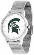 Michigan State Spartans Silver Mesh Statement Watch