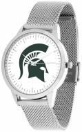 Michigan State Spartans Silver Mesh Statement Watch