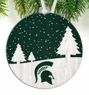 Michigan State Spartans Snow Scene Ornament