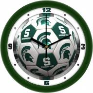Michigan State Spartans Soccer Wall Clock