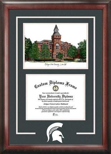 Michigan State Spirit Diploma Frame with Campus Image