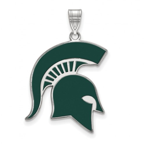 Michigan State Spartans Sterling Silver Extra Large Enameled Pendant
