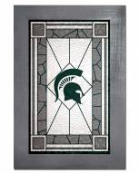 Michigan State Spartans Stained Glass with Frame