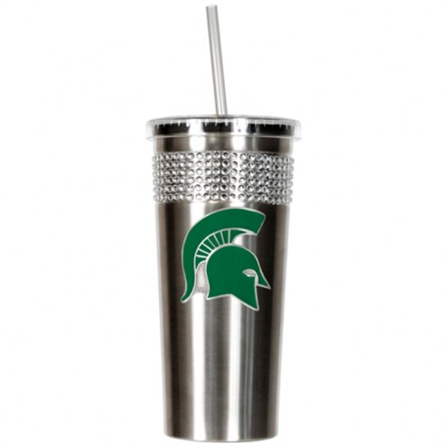 Michigan State Spartans Stainless Steel Bling Tumbler with Straw