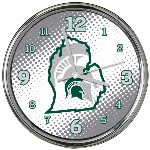 Michigan State Spartans State of Mind Chrome Clock