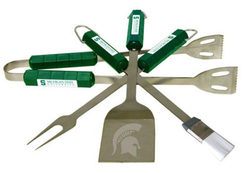 Michigan State Spartans NCAA 4-Piece Stainless Steel BBQ Set
