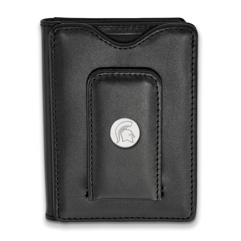 Michigan State Spartans Sterling Silver Black Leather Wallet