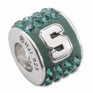 Michigan State Spartans Sterling Silver Charm Bead