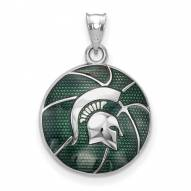 Michigan State Spartans Sterling Silver Enameled Basketball Pendant