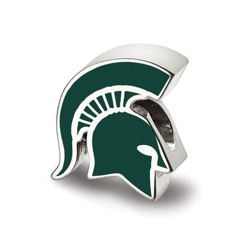 Michigan State Spartans Sterling Silver Enameled Bead