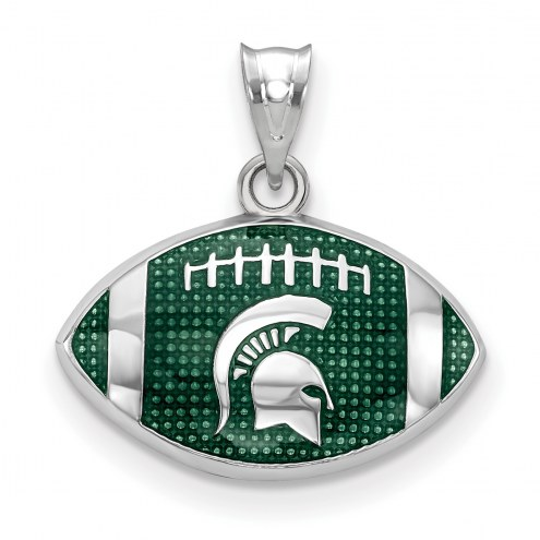 Michigan State Spartans Sterling Silver Enameled Football Pendant