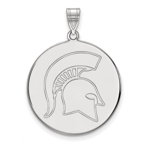 Michigan State Spartans Sterling Silver Extra Large Disc Pendant