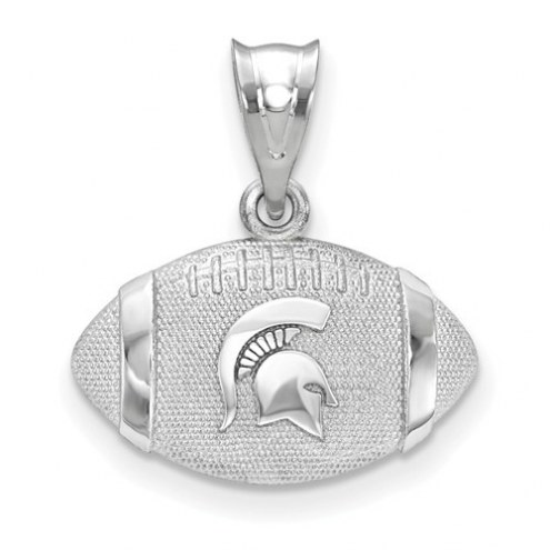 Michigan State Spartans Sterling Silver Football with Logo Pendant