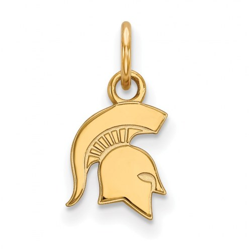 Michigan State Spartans Sterling Silver Gold Plated Extra Small Pendant
