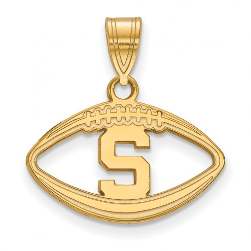 Michigan State Spartans Sterling Silver Gold Plated Football Pendant
