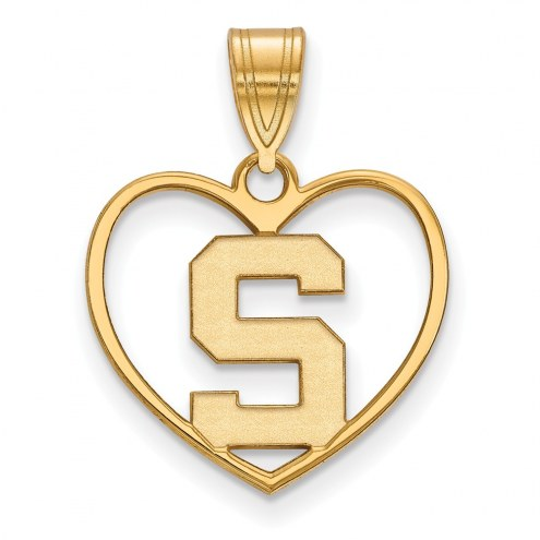 Michigan State Spartans Sterling Silver Gold Plated Heart Pendant