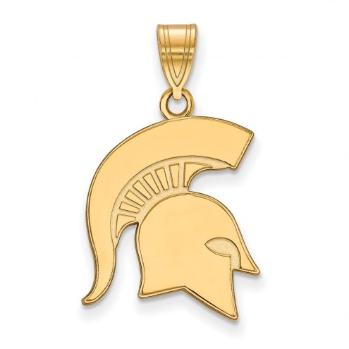 Michigan State Spartans Sterling Silver Gold Plated Large Pendant