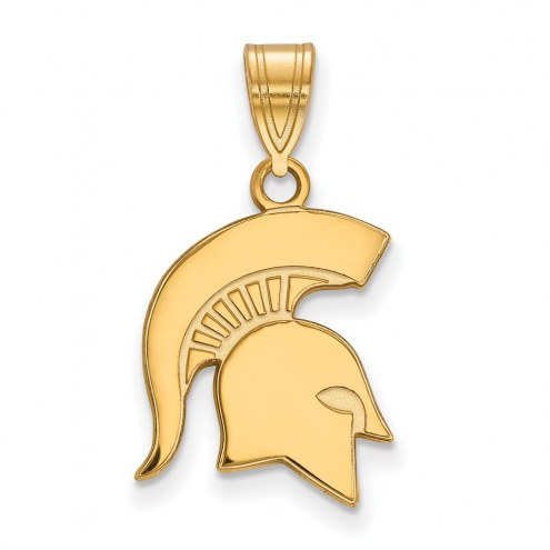 Michigan State Spartans Sterling Silver Gold Plated Medium Pendant