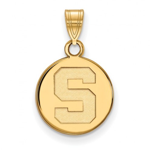 Michigan State Spartans Sterling Silver Gold Plated Small Disc Pendant