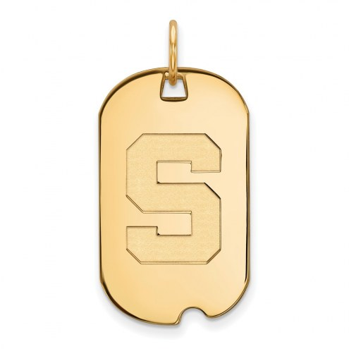 Michigan State Spartans Sterling Silver Gold Plated Small Dog Tag