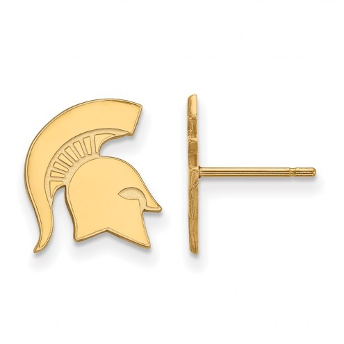 Michigan State Spartans Sterling Silver Gold Plated Small Post Earrings