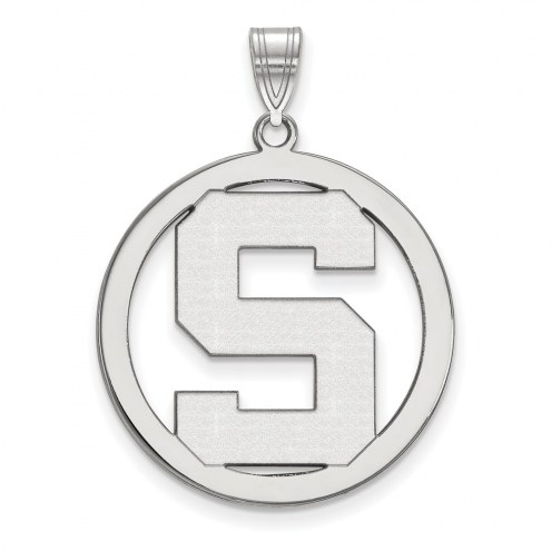 Michigan State Spartans Sterling Silver Large Circle Pendant