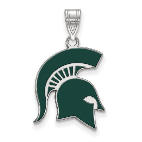 Michigan State Spartans Sterling Silver Large Enameled Pendant