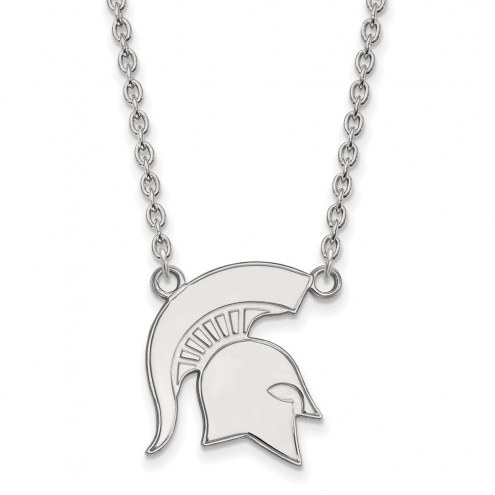 Michigan State Spartans Sterling Silver Large Pendant Necklace