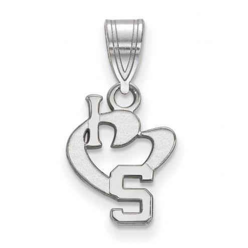 Michigan State Spartans Sterling Silver Small I Love Logo Pendant
