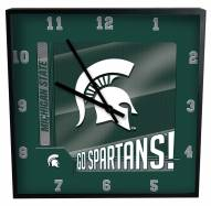 Michigan State Spartans Team Black Square Clock