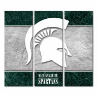 Michigan State Spartans Triptych Double Border Canvas Wall Art