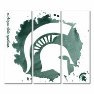 Michigan State Spartans Triptych Watercolor Canvas Wall Art