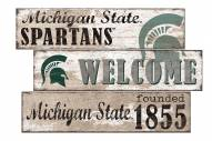 Michigan State Spartans Welcome 3 Plank Sign