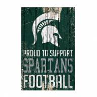 Michigan State Spartans Proud to Support Wood Sign