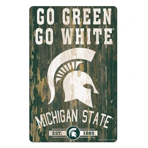 Michigan State Spartans Slogan Wood Sign