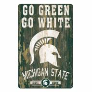 Michigan State Spartans Slogan Wood Sign