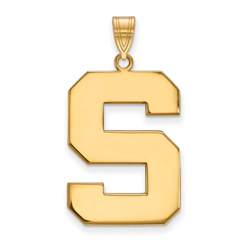 Michigan State Spartans NCAA Sterling Silver Gold Plated Extra Large Pendant